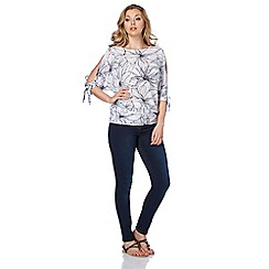 Roman Originals - Ivory sketchy flower top