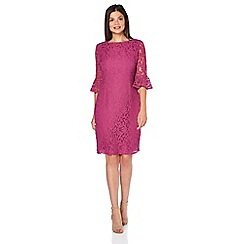 Roman Originals - Dark pink v-neck lace dress