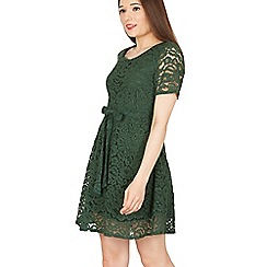 Goldkid - Green floral lace short sleeves dress