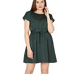 Goldkid - Green pinstripe drop shoulder sleeves dress