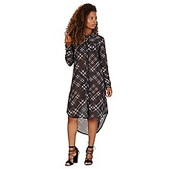 Apricot - Black checked long sleeved shirt dress