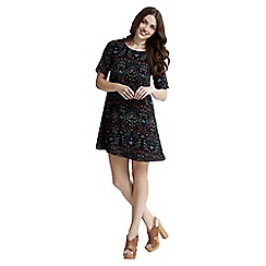 Apricot - Black dark floral print shift dress