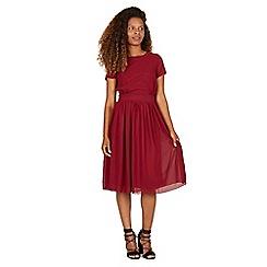Tenki - Maroon short sleeves plain midi dress