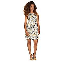 Tenki - White sleeveless floral print skater dress