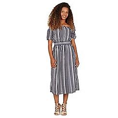 Tenki - Blue half sleeves stripy midi dress