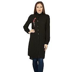 Izabel London - Black floral embroidered longline shirt top