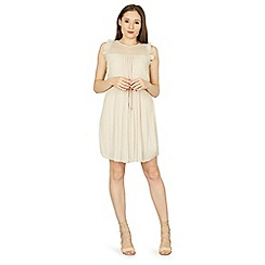 Izabel London - Beige frill detail pleated dress