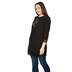 Izabel London - Black long sleeve crochet tunic top