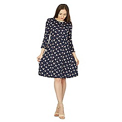 Izabel London - Navy ditsy floral print tea dress