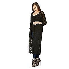 Izabel London - Black long length lace cardigan