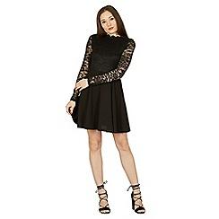 Izabel London - Black ruffle neck lace contrast dress
