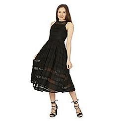 Izabel London - Black sheer stripe lace skater dress