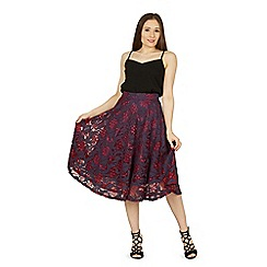 Izabel London - Plum mid length lace prom skirt