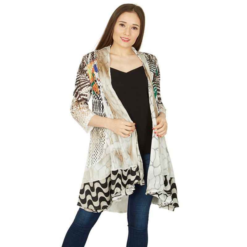 Izabel London White contrast print waterfall cardigan