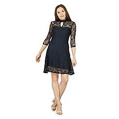 Izabel London - Navy keyhole neck lace dress