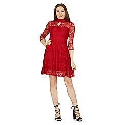 Izabel London - Dark red keyhole neck lace dress