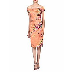 Jolie Moi - Multicoloured retro floral print bardot dress