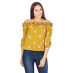 MISSTRUTH - Mustard floral print frill bardot top