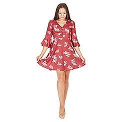 MISSTRUTH - Plum floral v-neck tea dress with bell sleeves