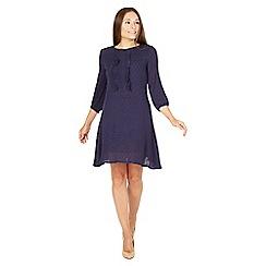MISSTRUTH - Navy frill long sleeves skater dress