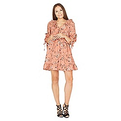 MISSTRUTH - Pink floral tie sleeves detail frill tea dress