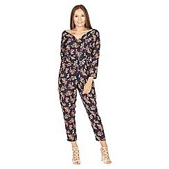 MISSTRUTH - Navy floral V-neck peplum waist jumpsuit
