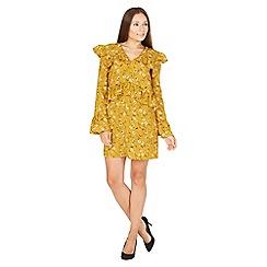 MISSTRUTH - Mustard floral frill A-line bell sleeves dress