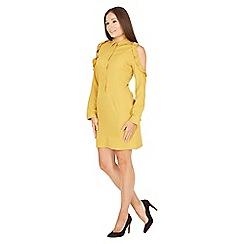 MISSTRUTH - Mustard button detail shirt dress