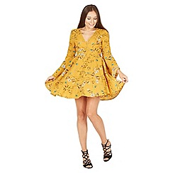 MISSTRUTH - Yellow floral V-neck detail dress bell sleeves