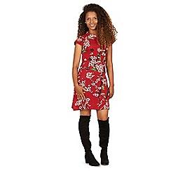 Izabel London - Red floral print roll neck dress