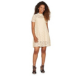 Izabel London - Beige lace overlay short sleeves dress