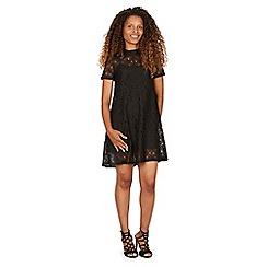 Izabel London - Black lace overlay short sleeves dress