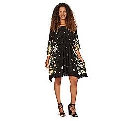 Izabel London - Black kaftan style tassel trim dress