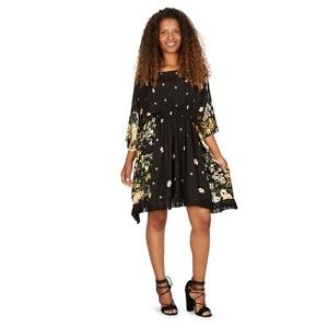 Izabel London Black kaftan style tassel trim dress