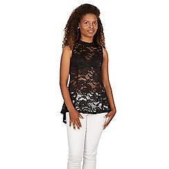 Izabel London - Black sleeveless lace top