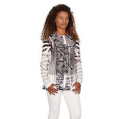 Izabel London - Black long sleeves contrast print top