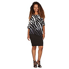 Izabel London - Black monochrome overlay asymmetric dress