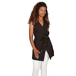 Izabel London - Black eyelet tie sleeveless jacket