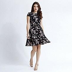 Apricot - Black flower print skater dress