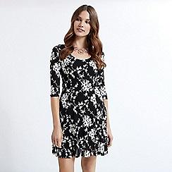 Apricot - Black rose print skater dress