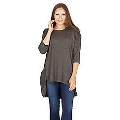 Apricot - Dark grey side zip tunic top