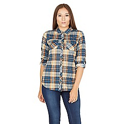 Apricot - Turquoise plaid roll sleeves shirt