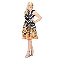 Lindy Bop - Black christie orange polka swing dress