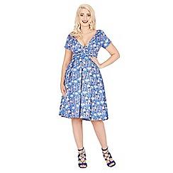 Lindy Bop - Blue darcy 1940's lady print day dress