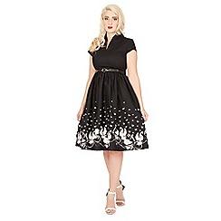 Lindy Bop - Black emily swan border swing dress