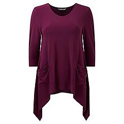 Lavitta - Wine jersey 3/4 sleeves hanky hem top