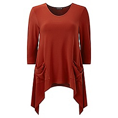 Lavitta - Brown jersey 3/4 sleeves hanky hem top