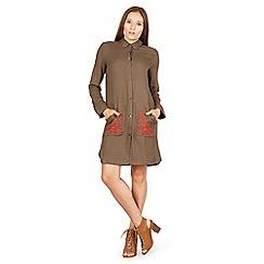 Izabel London - Khaki embroidered utility shirt dress