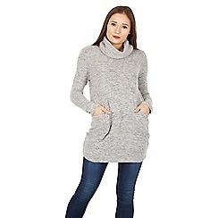 Izabel London - Light grey roll neck pocket detail top