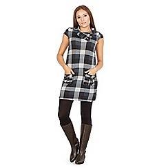Izabel London - Grey cowl neck check print tunic dress